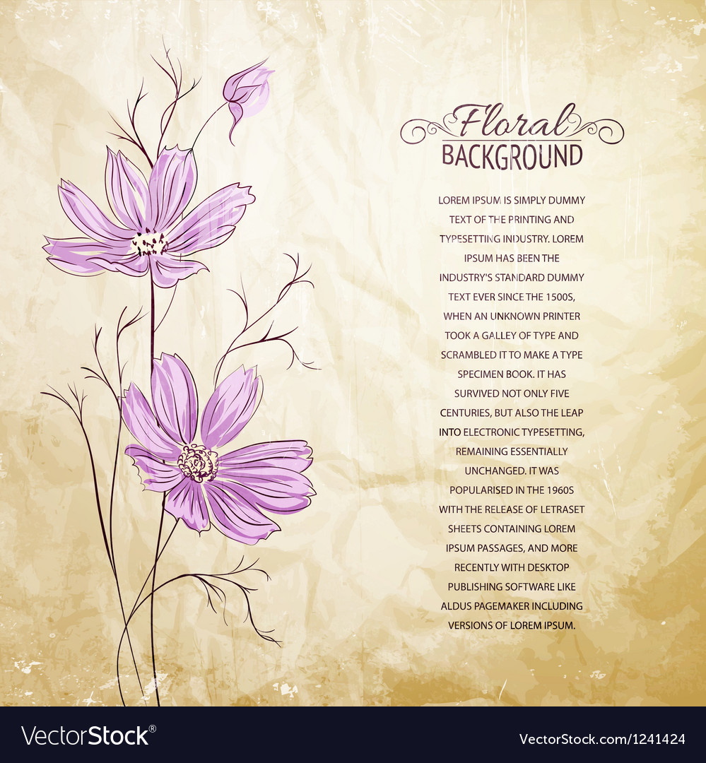 Blue flower over brown background vector | Price: 1 Credit (USD $1)