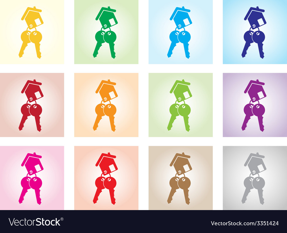 Colourful house keys vector | Price: 1 Credit (USD $1)