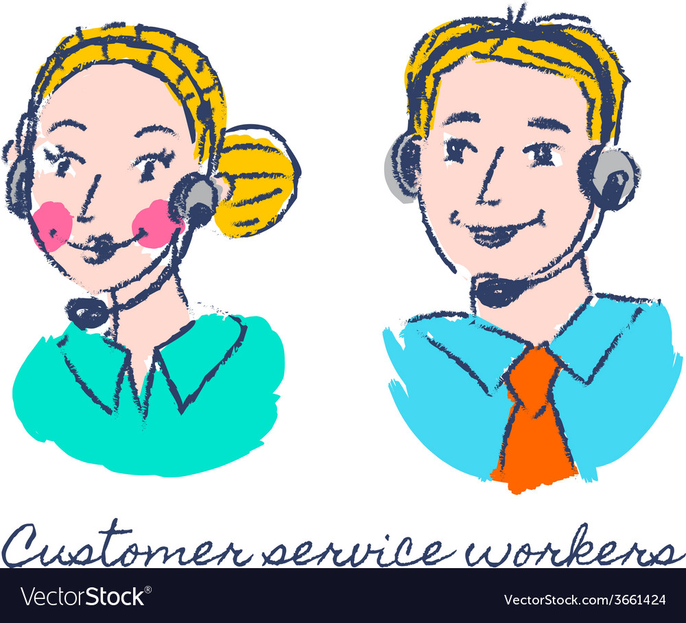 Customer service workers sketch drawing vector | Price: 1 Credit (USD $1)