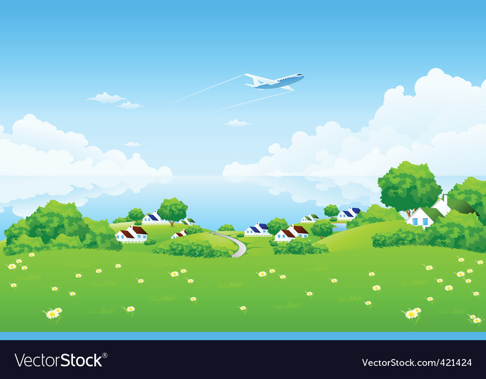 Green landscape with aircraft vector | Price: 3 Credit (USD $3)