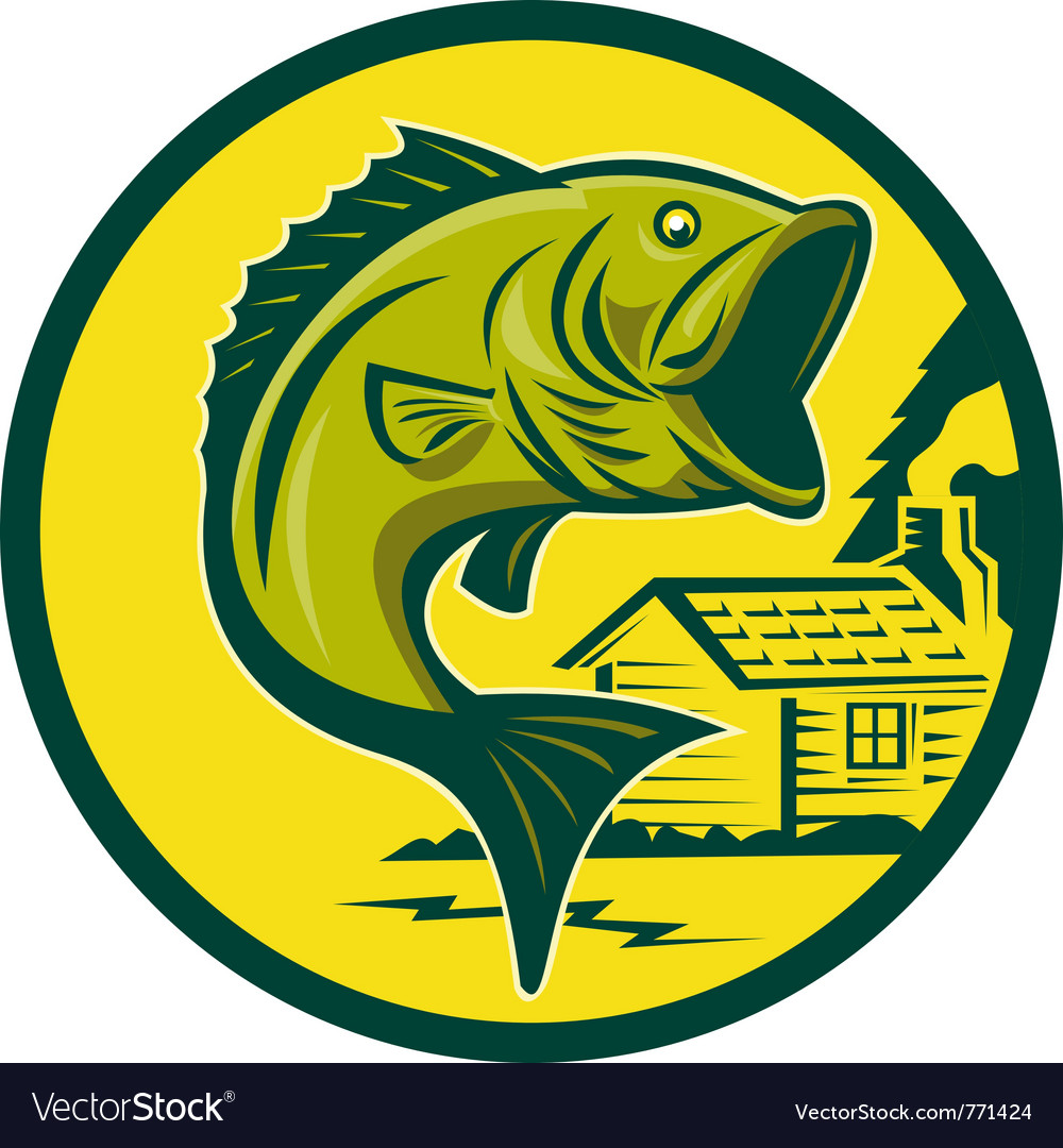 Largemouth bass jumping retro style vector | Price: 1 Credit (USD $1)