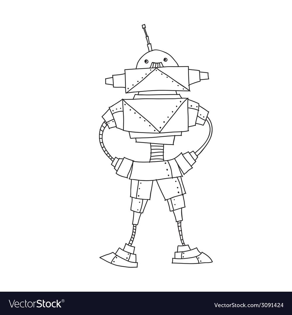 Retro cartoon robot vector   Price: 1 Credit (USD $1)