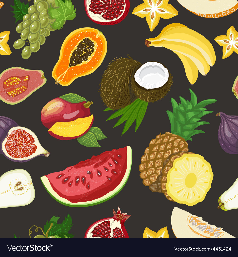 Seamless pattern with healthy fruits on dark vector | Price: 1 Credit (USD $1)