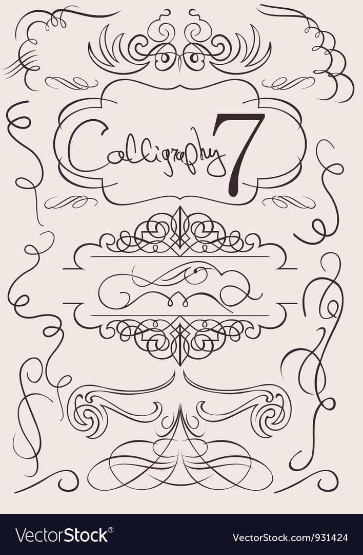 Set calligraphic design elements and page decorati vector | Price: 1 Credit (USD $1)