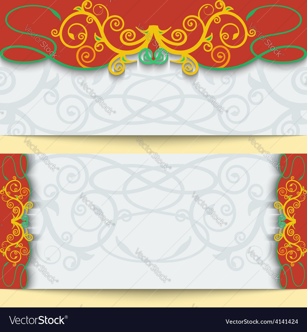 Set of greeting cards or invitations in east style vector | Price: 1 Credit (USD $1)