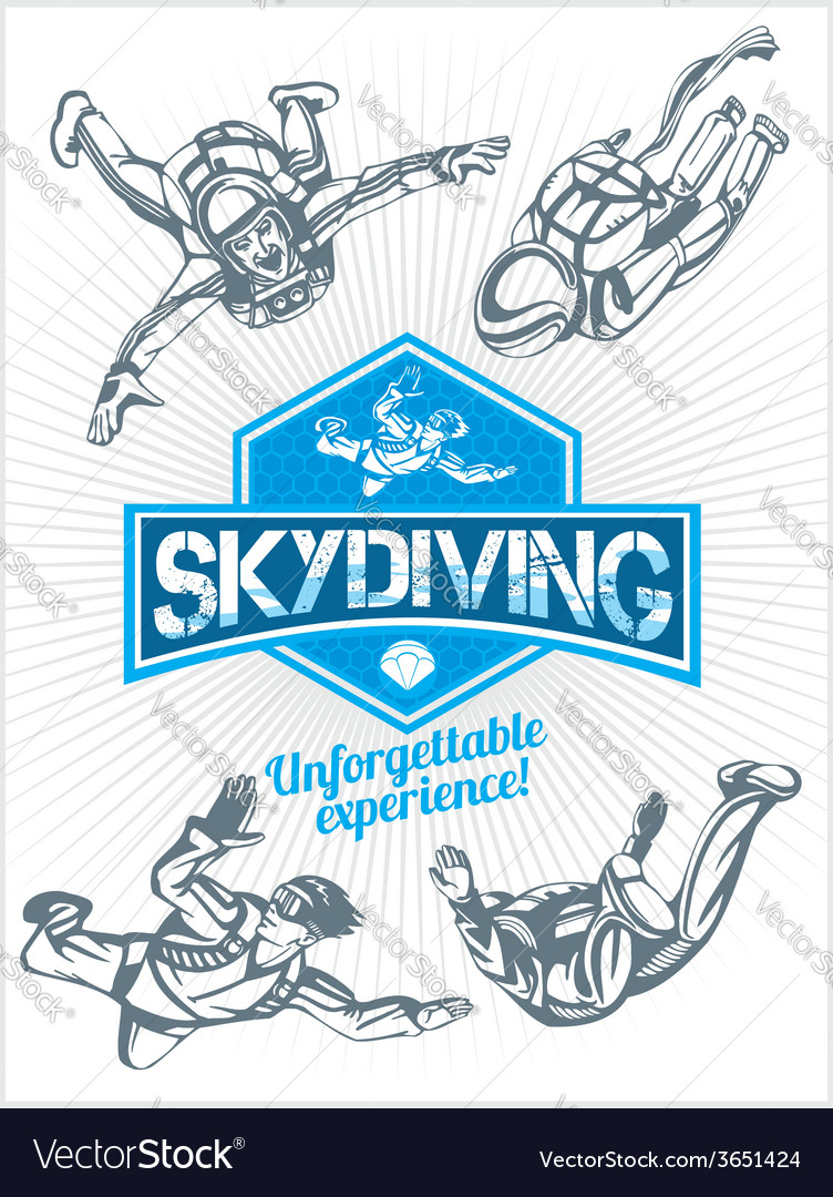 Skydiving set - emblem and skydivers vector | Price: 1 Credit (USD $1)