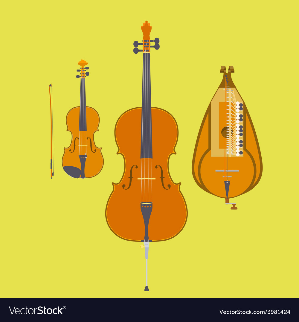Violin violin bow cello and hurdy-gurdy vector | Price: 1 Credit (USD $1)