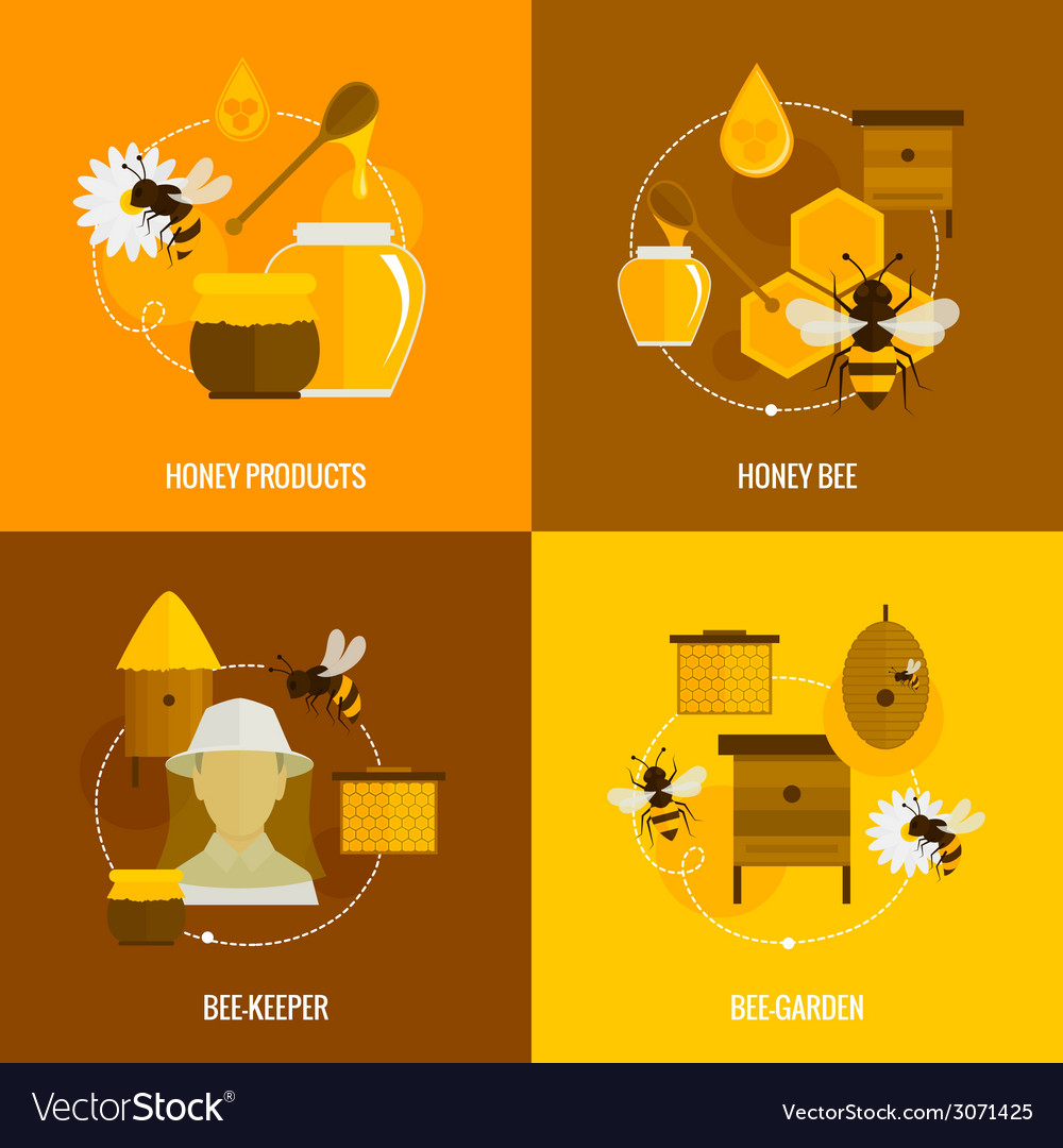 Bee honey icons flat vector | Price: 1 Credit (USD $1)