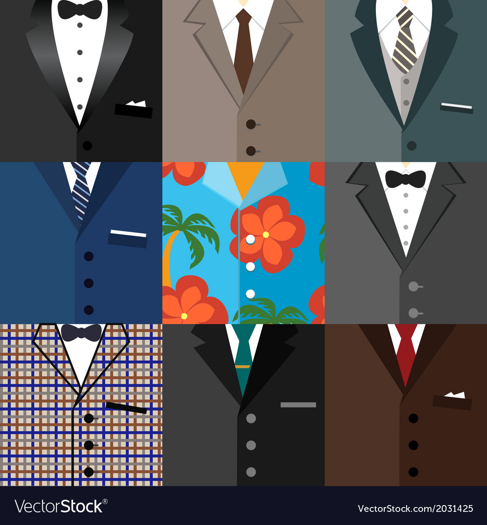 Business decorative icons set of suits vector | Price: 1 Credit (USD $1)