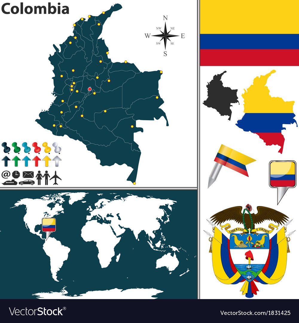 Colombia map world vector | Price: 1 Credit (USD $1)