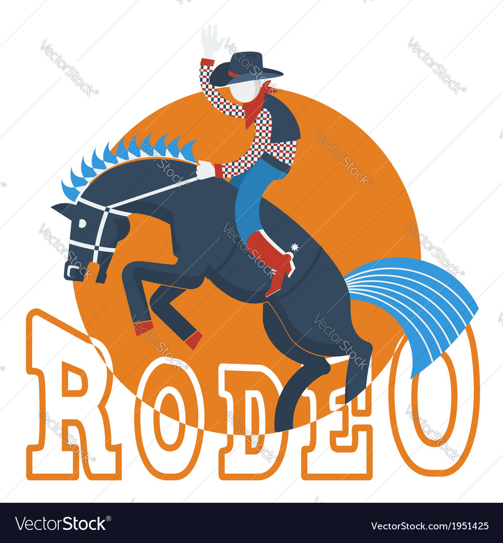 Cowboy on wild horse with text isolated on white vector | Price: 1 Credit (USD $1)