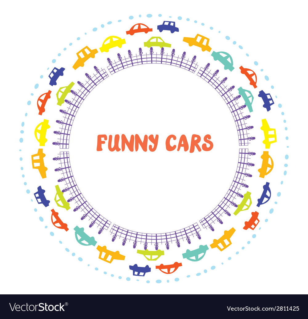 Funny frame with cars vector | Price: 1 Credit (USD $1)