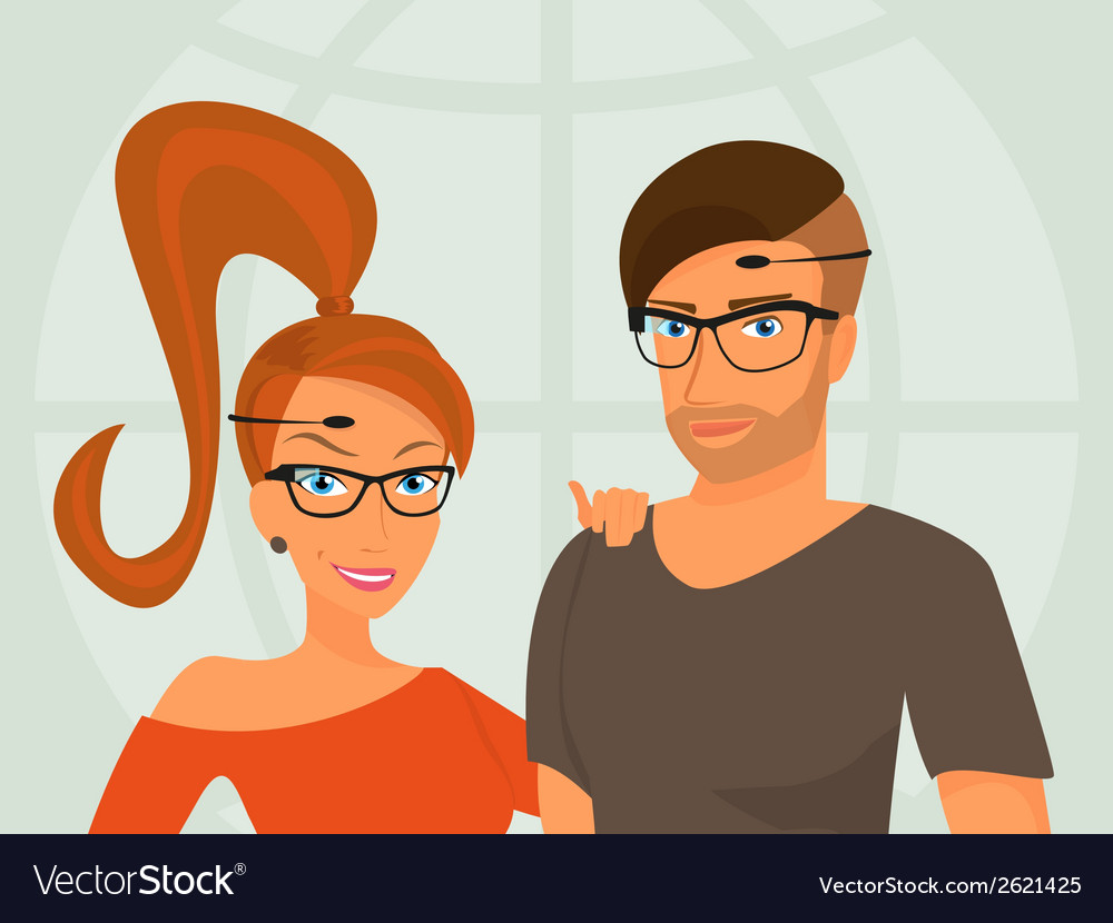Hipster guy and his smiling girlfriend are wearing vector | Price: 1 Credit (USD $1)