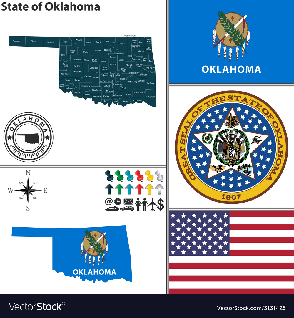 Map of oklahoma with seal vector | Price: 1 Credit (USD $1)