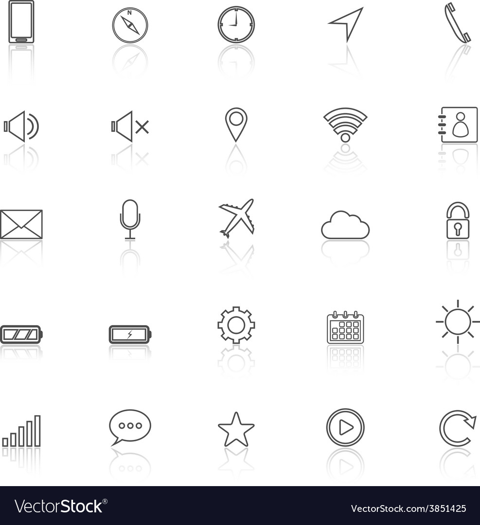 Mobile phone line icons with reflect on white vector | Price: 1 Credit (USD $1)