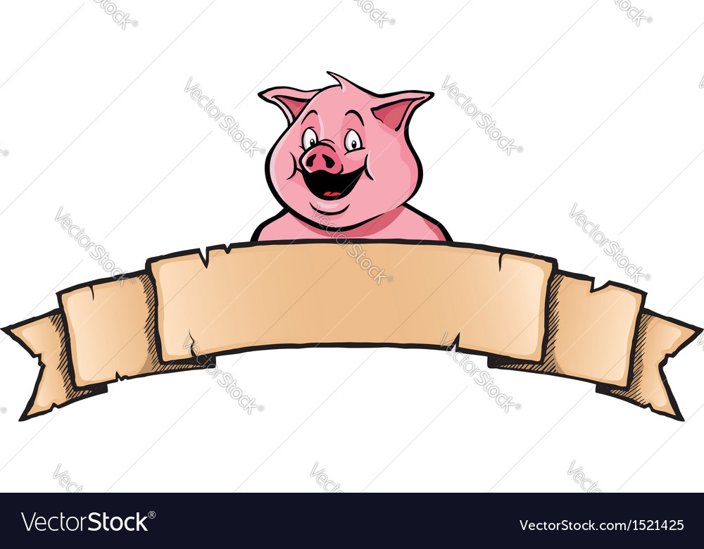 Pig with ribbon banner vector | Price: 1 Credit (USD $1)