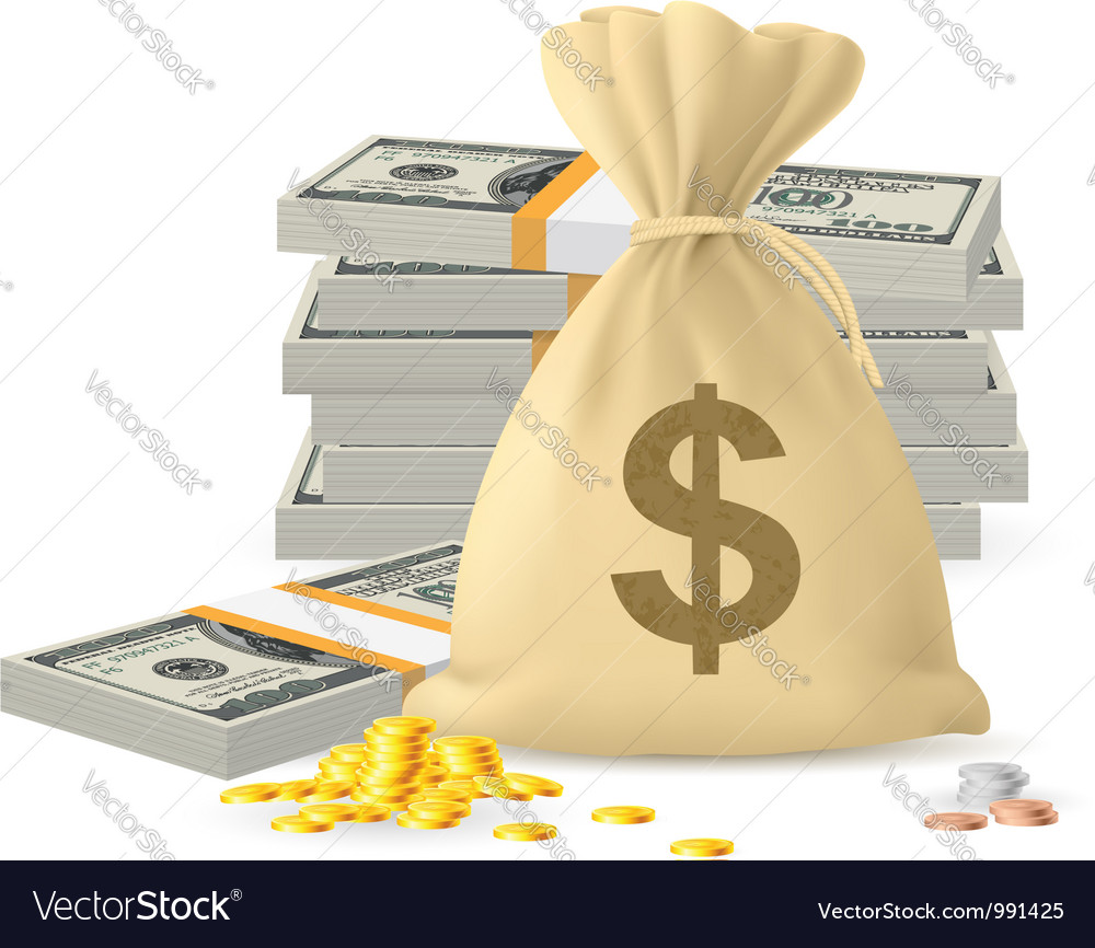 Piles of money vector | Price: 1 Credit (USD $1)