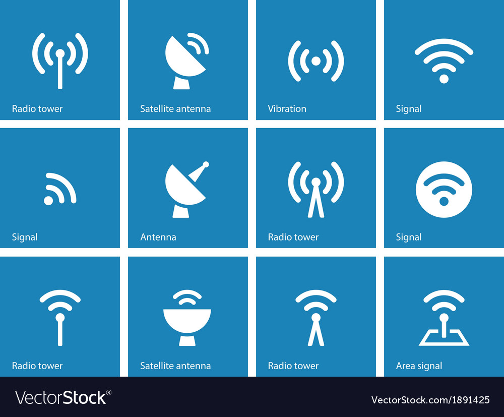Radio tower icons on blue background vector | Price: 1 Credit (USD $1)