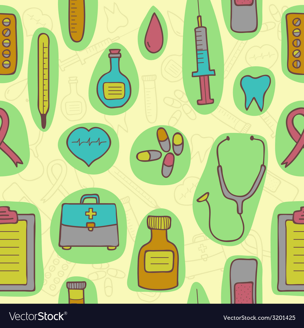Seamless background with medical icons vector | Price: 1 Credit (USD $1)