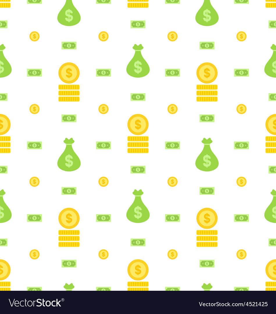 Seamless pattern with money bag bank notes coins vector | Price: 1 Credit (USD $1)