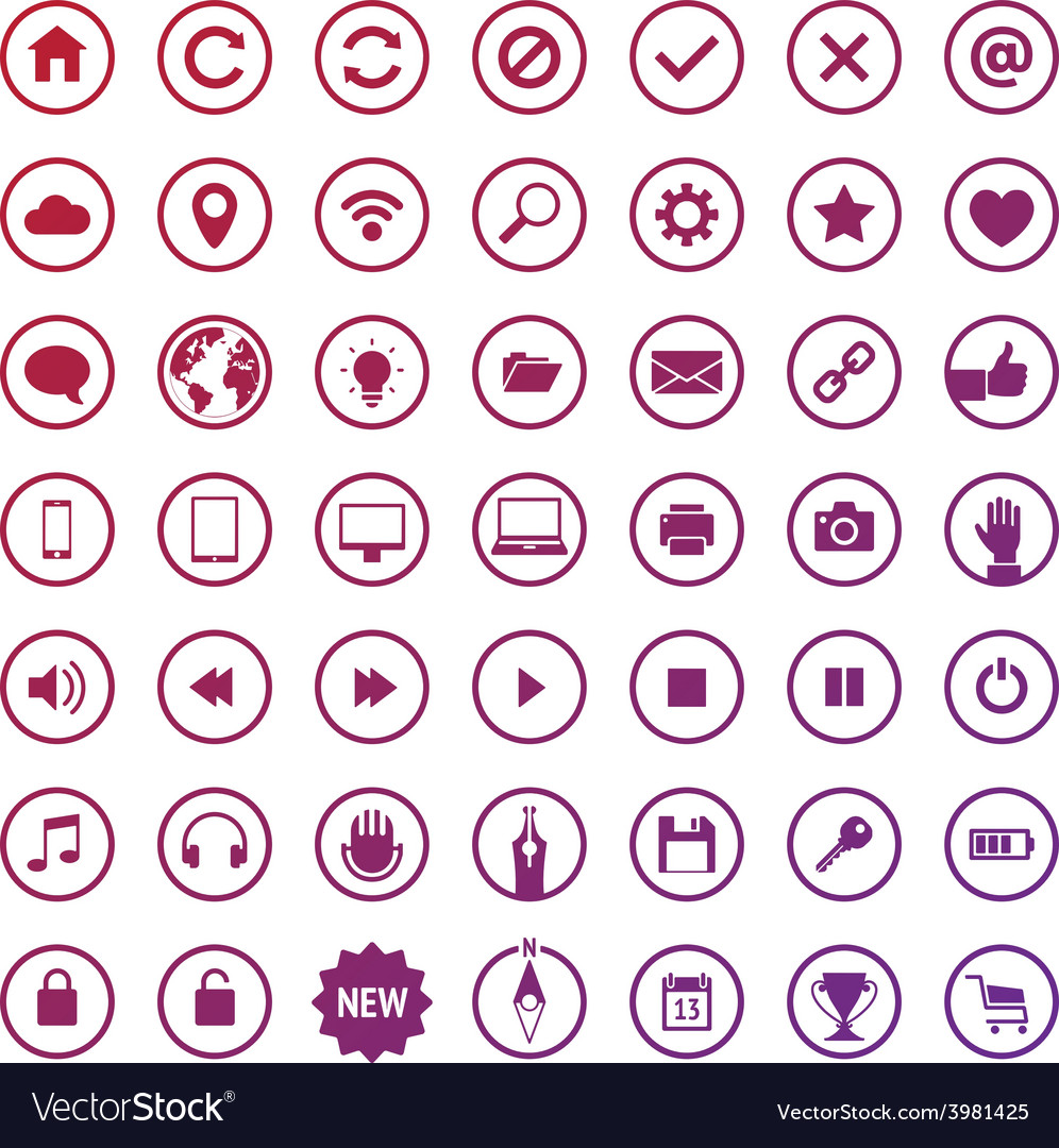 Set of round web icons vector | Price: 1 Credit (USD $1)