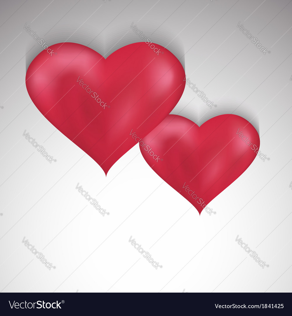 Stylish valentines day background with two hearts vector | Price: 1 Credit (USD $1)