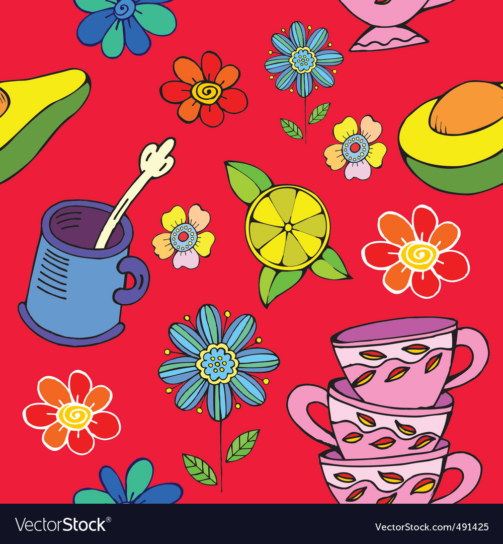 Tea time floral print vector | Price: 1 Credit (USD $1)