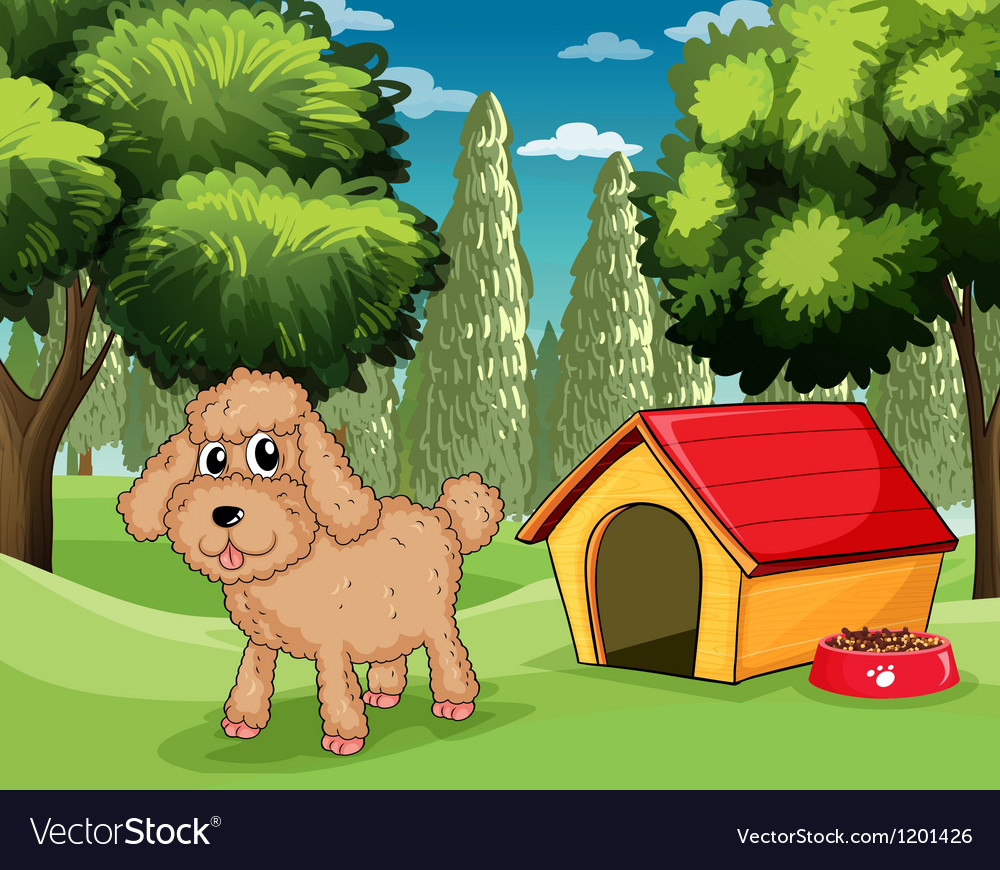 A dog standing outside his dog house vector | Price: 1 Credit (USD $1)
