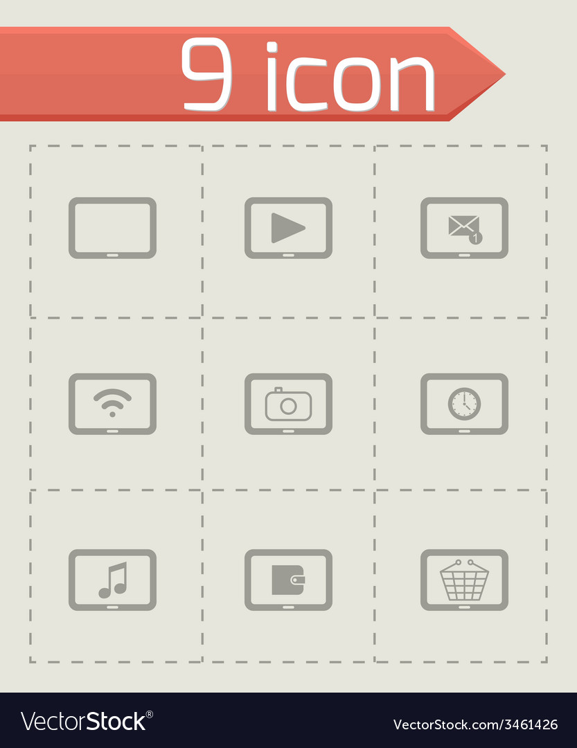 Black tablet icon set vector | Price: 1 Credit (USD $1)