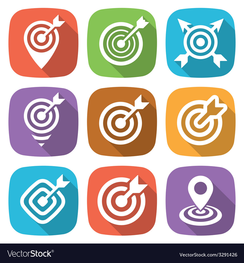 Flat target icon pack with shadow vector | Price: 1 Credit (USD $1)