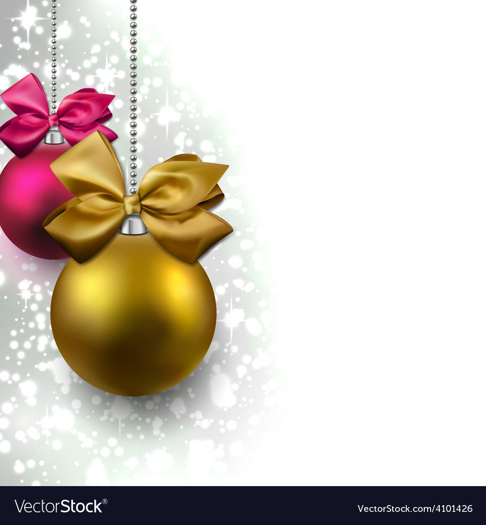 Glitter christmas background with balls vector   Price: 1 Credit (USD $1)