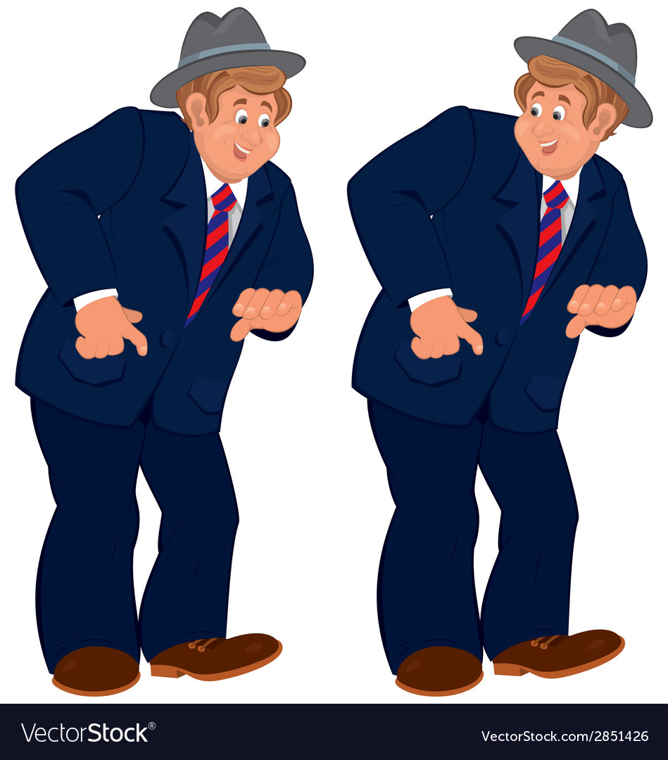 Happy cartoon man standing in gray hat and striped vector   Price: 1 Credit (USD $1)