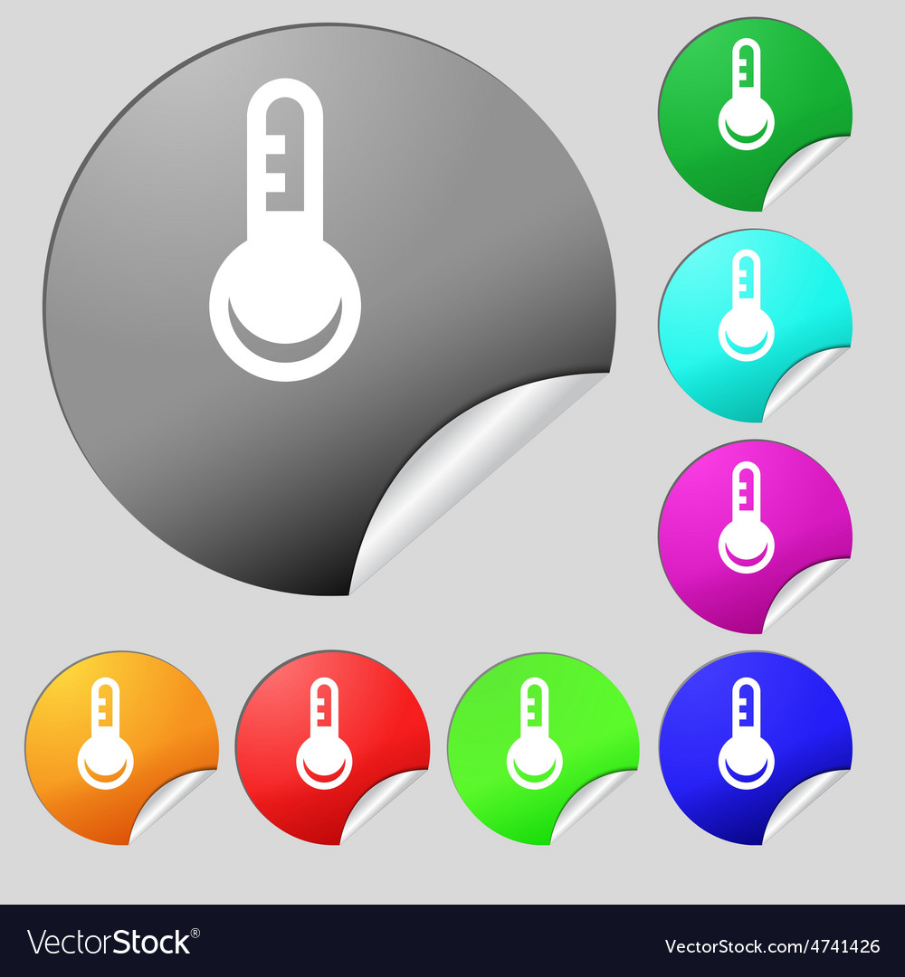 Thermometer temperature icon sign set of eight vector | Price: 1 Credit (USD $1)