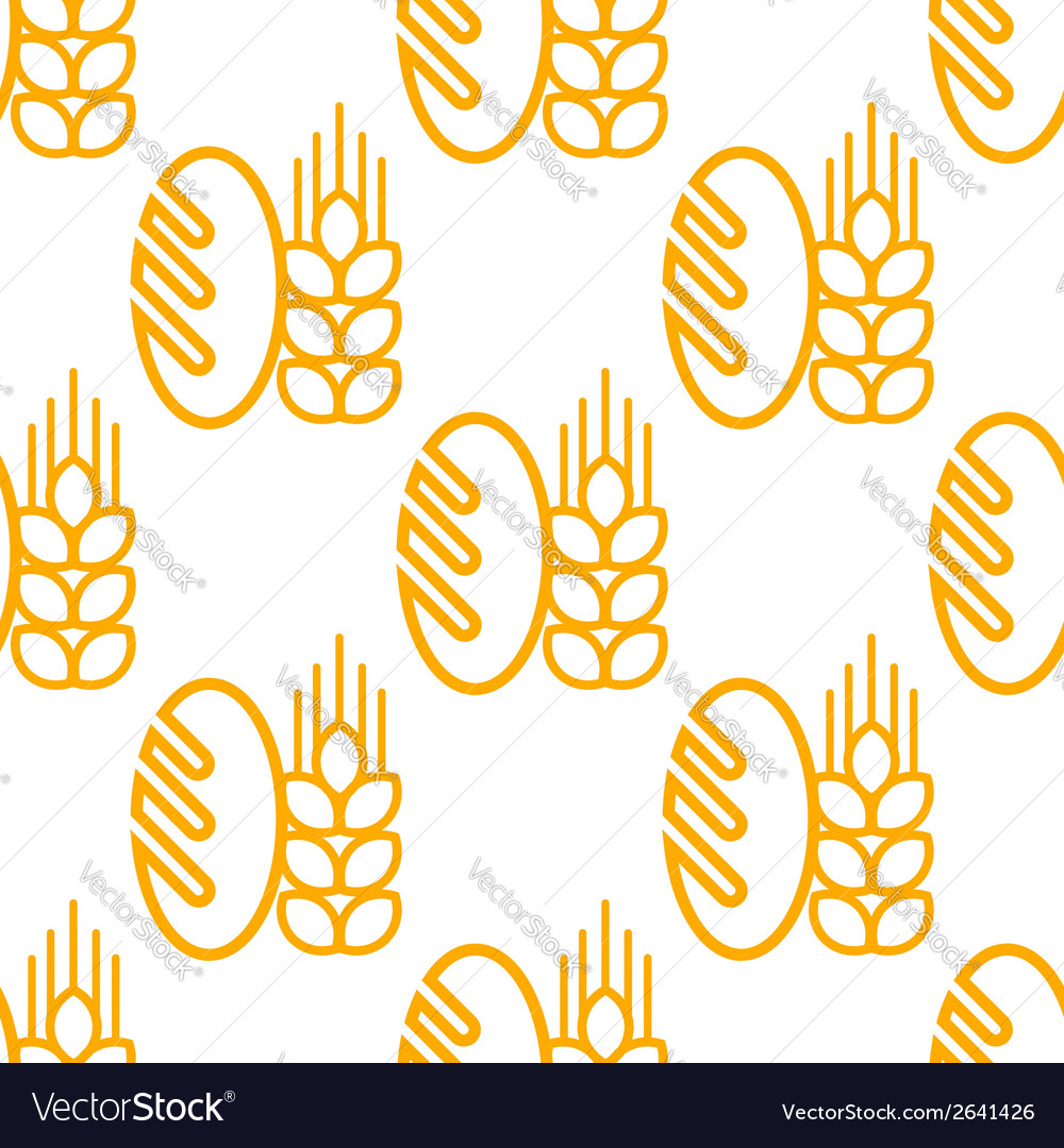 Seamless pattern of bread and bakery symbol vector | Price: 1 Credit (USD $1)