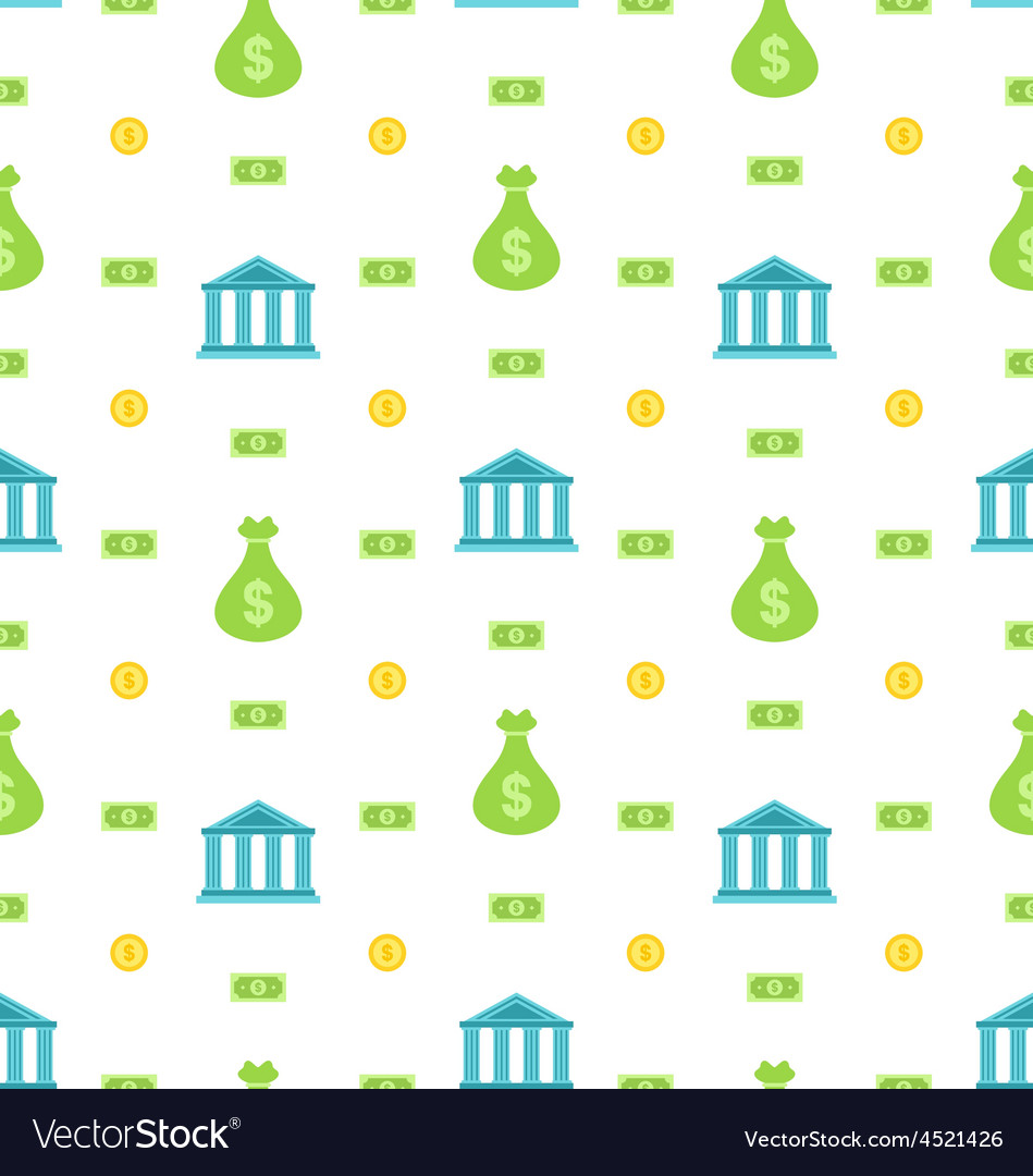 Seamless pattern with bank institution bank notes vector | Price: 1 Credit (USD $1)