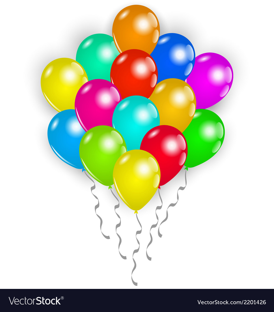 Set colorful balloons on white background vector   Price: 1 Credit (USD $1)
