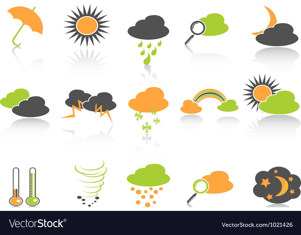 Simple color weather icons set vector | Price: 1 Credit (USD $1)