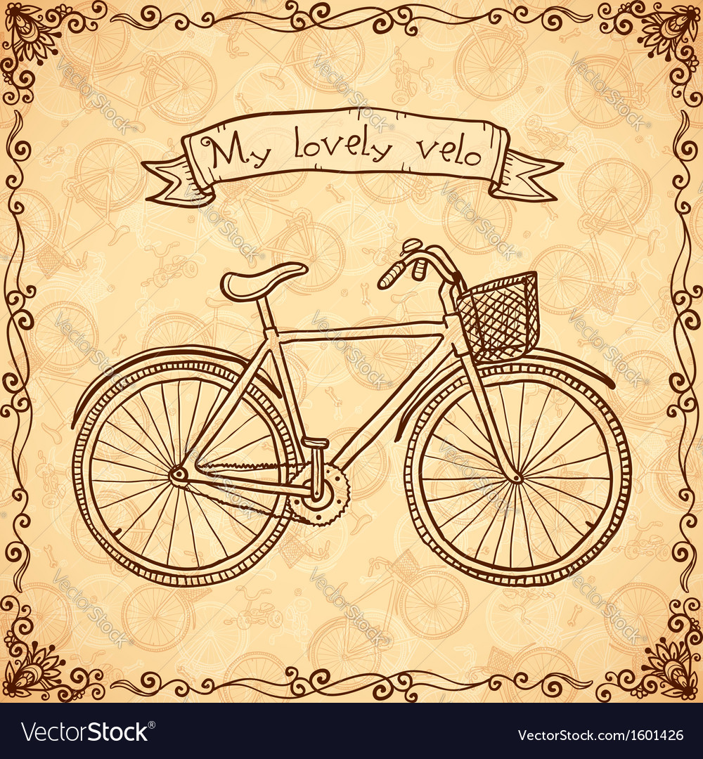 Vintage bicycle hand drawn card vector | Price: 1 Credit (USD $1)
