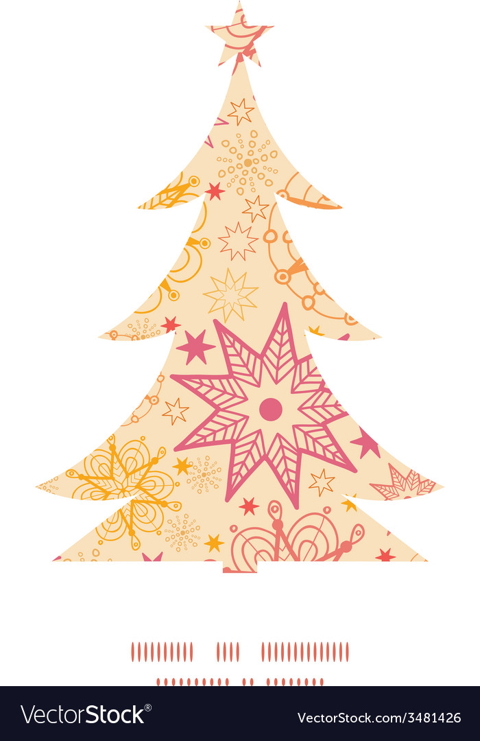 Warm stars christmas tree silhouette pattern frame vector | Price: 1 Credit (USD $1)