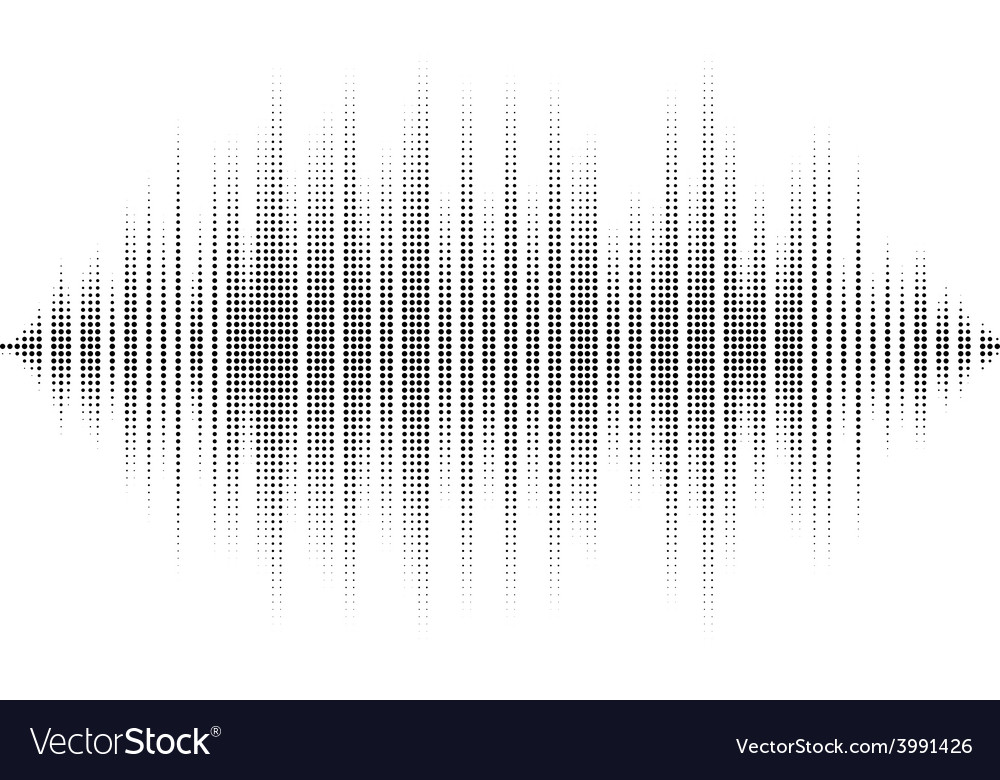 Waveform background isolated black and white vector | Price: 1 Credit (USD $1)