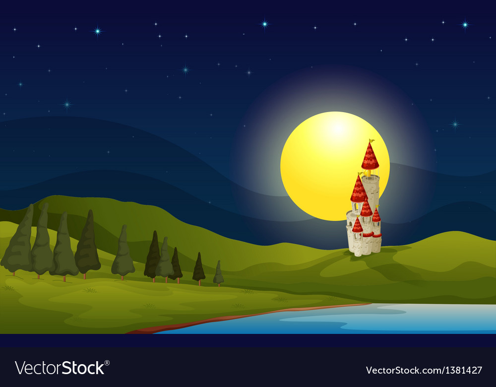 A palace at the top of the hill vector | Price: 1 Credit (USD $1)