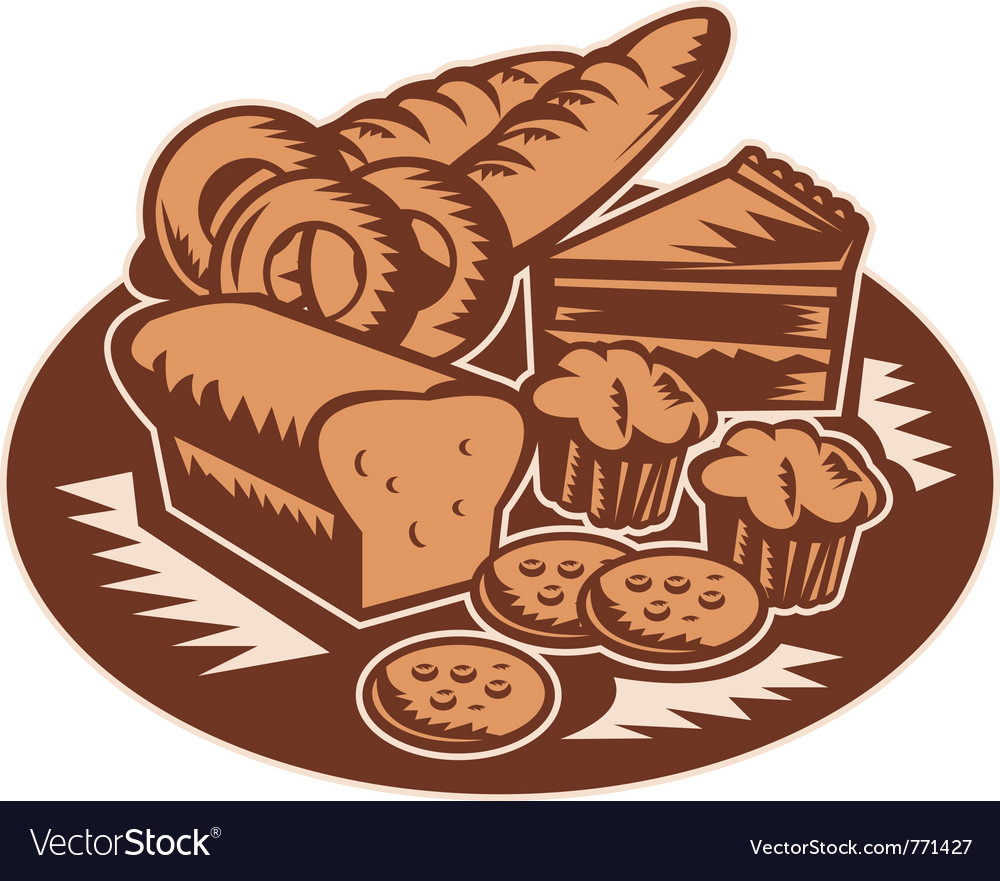 Bakery products pastry bread pie cake vector | Price: 1 Credit (USD $1)