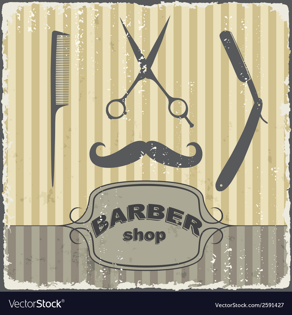Barber shop vintage retro template vector | Price: 1 Credit (USD $1)
