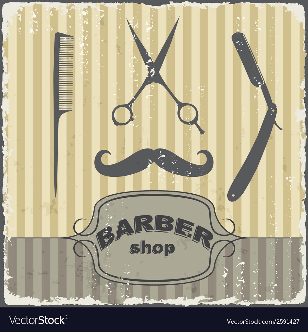 Barber shop vintage retro template vector | Price: 1 Credit (USD $1)