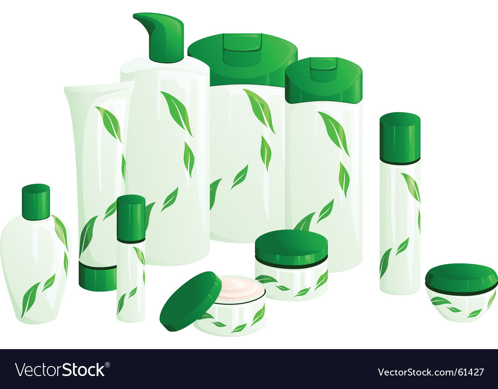 Beauty products with green leaves vector