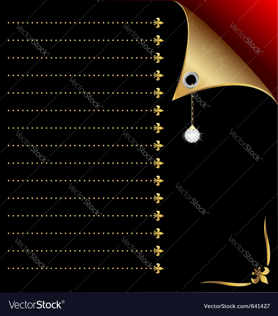 Black-red paper with gold corner and crystal vector | Price: 1 Credit (USD $1)