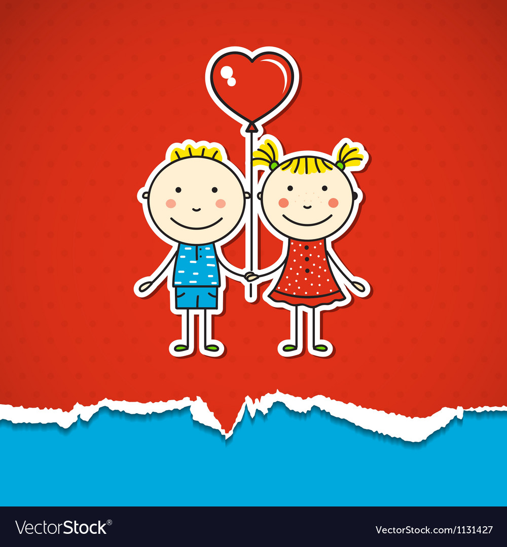 Children in love vector | Price: 1 Credit (USD $1)