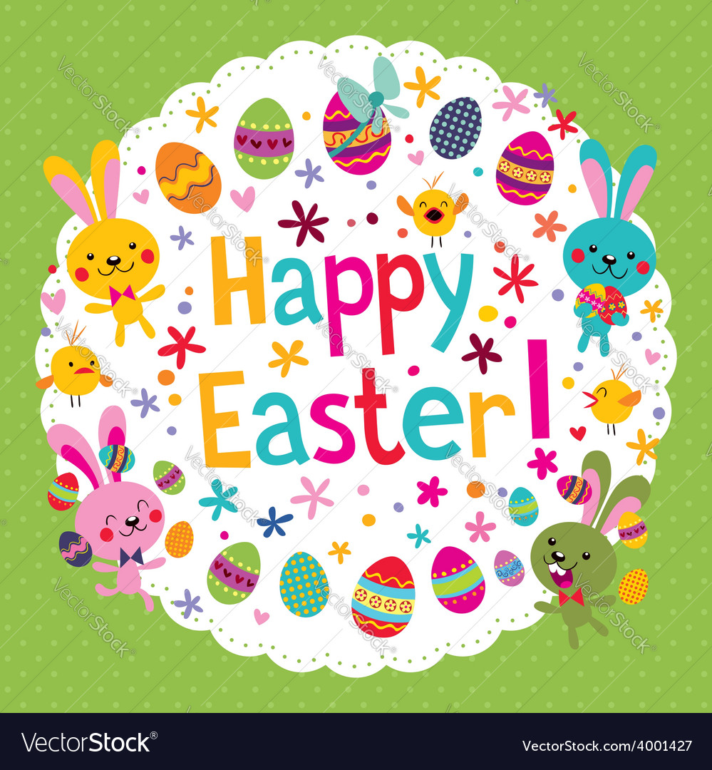 Cute happy easter card vector | Price: 1 Credit (USD $1)