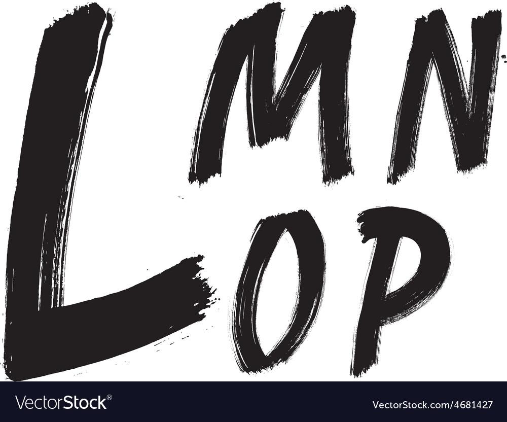 Detailed hand written brush font type alphabet vector