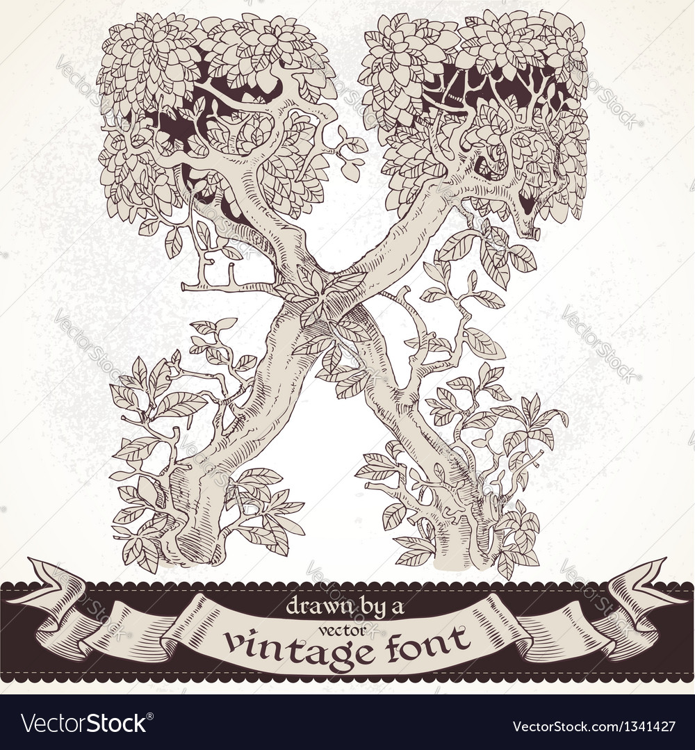 Fable forest hand drawn by a vintage font - x vector | Price: 1 Credit (USD $1)